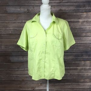 Talbots Bright Green Short Sleeve Button Down Top
